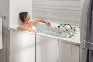 Woman soaking in walk in tub