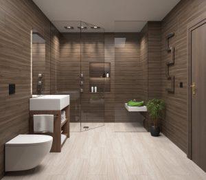 Neutral dark brown bathroom with walk-in shower.