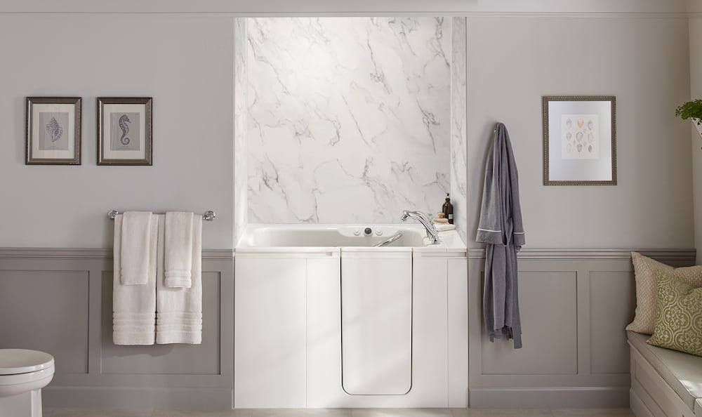 Kohler Walk-In Bath with CrossCut Dune bath walls