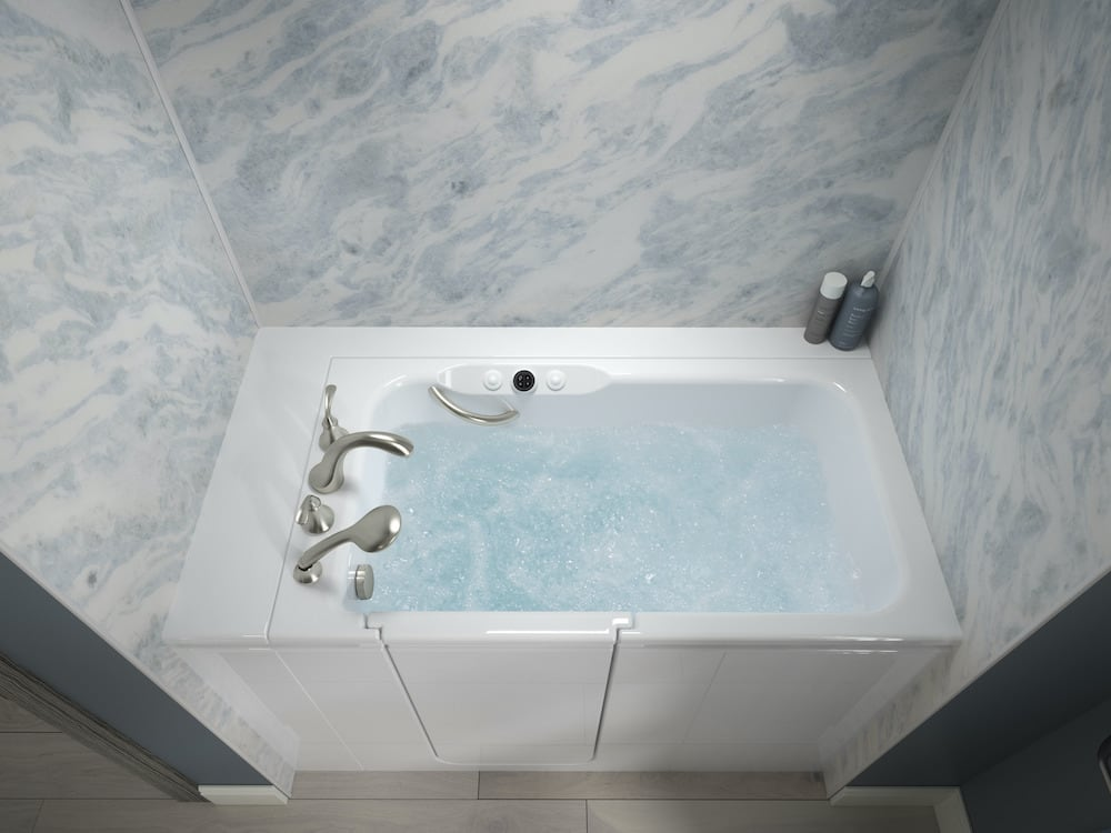 Walk-In Bath with Bluette bath walls.