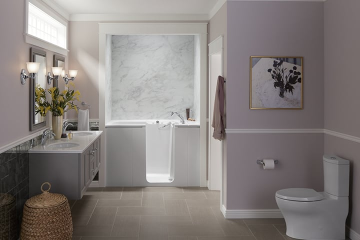 Walk-in bathtub in purple bathroom