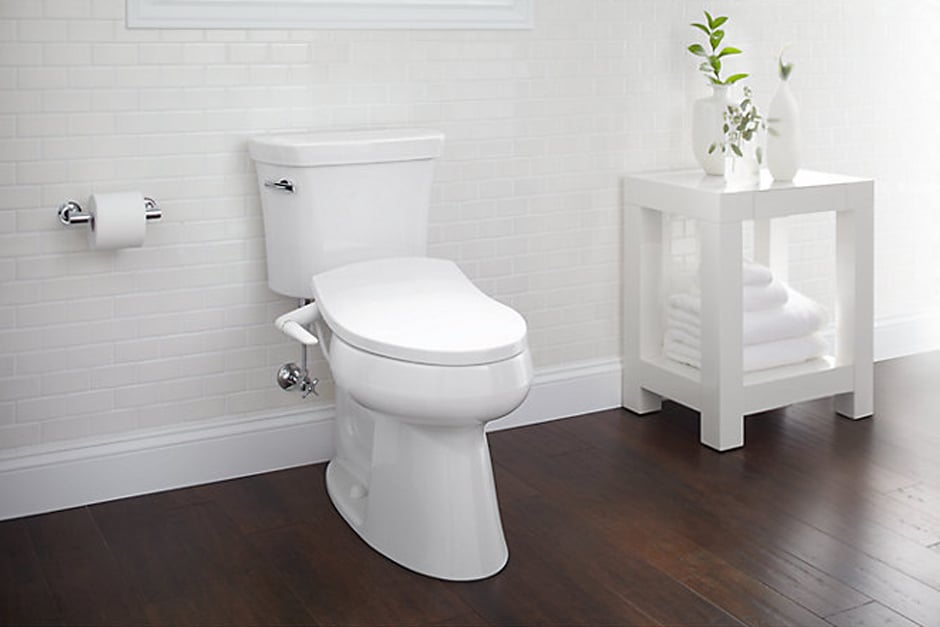 White bidet toilet seat on wooden floor with a plant on a table