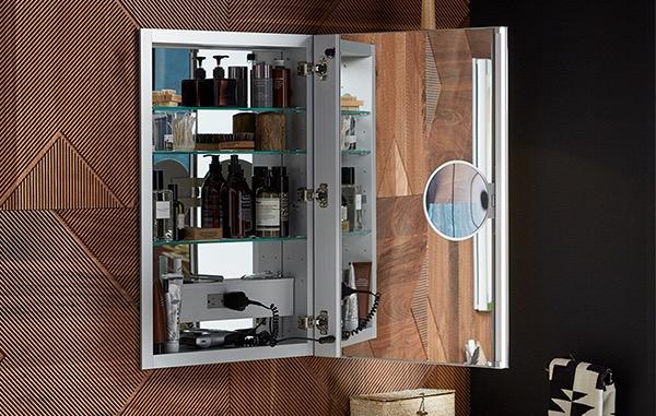 Open mirrored medicine cabinet