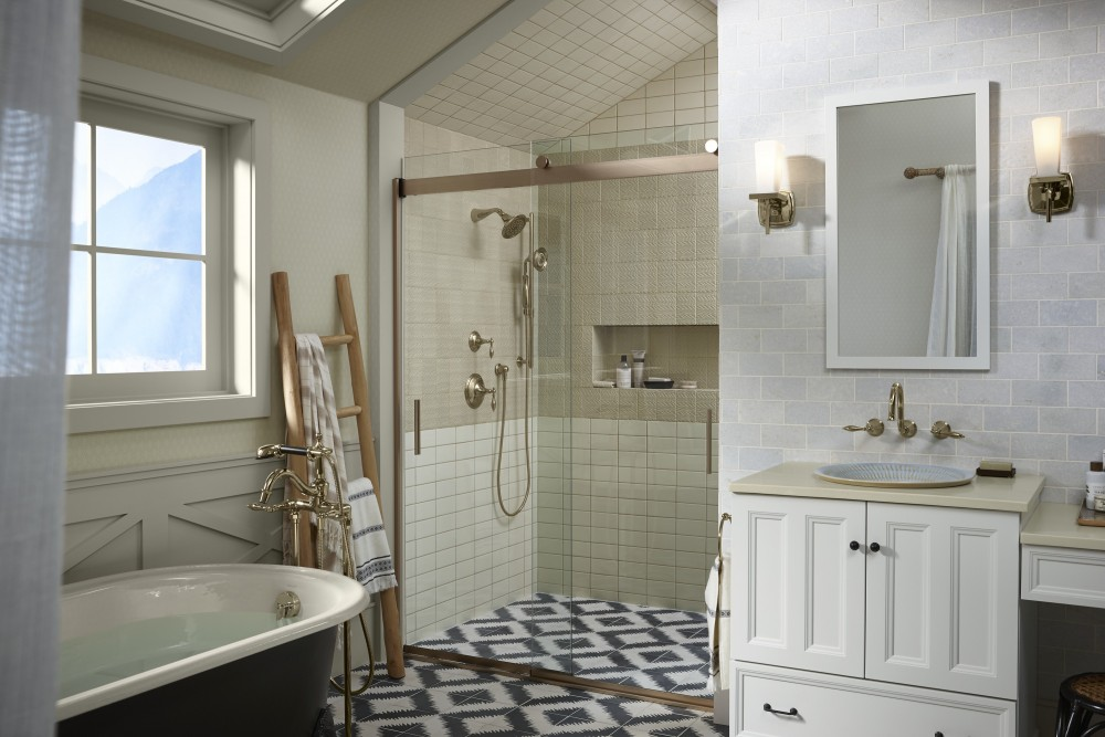 bathroom with towel ladder