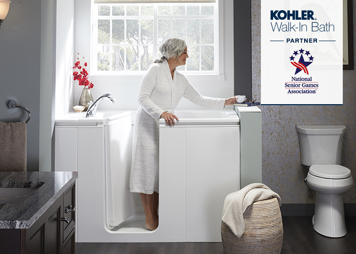 Photo of Women Getting into Kohler Walk-In Bath with NSG logo over image