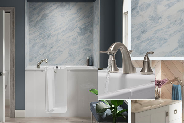 Collage of Walk-In Bath features, including Bluette bath walls, Chrome faucet