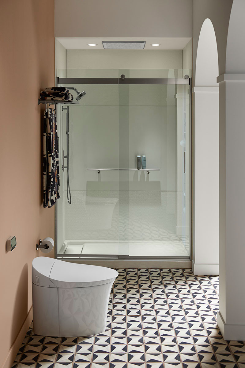 shower with glass doors