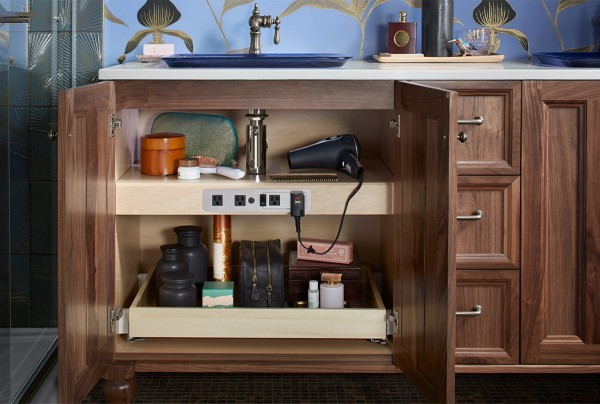 rolling drawers in bathroom cabinet