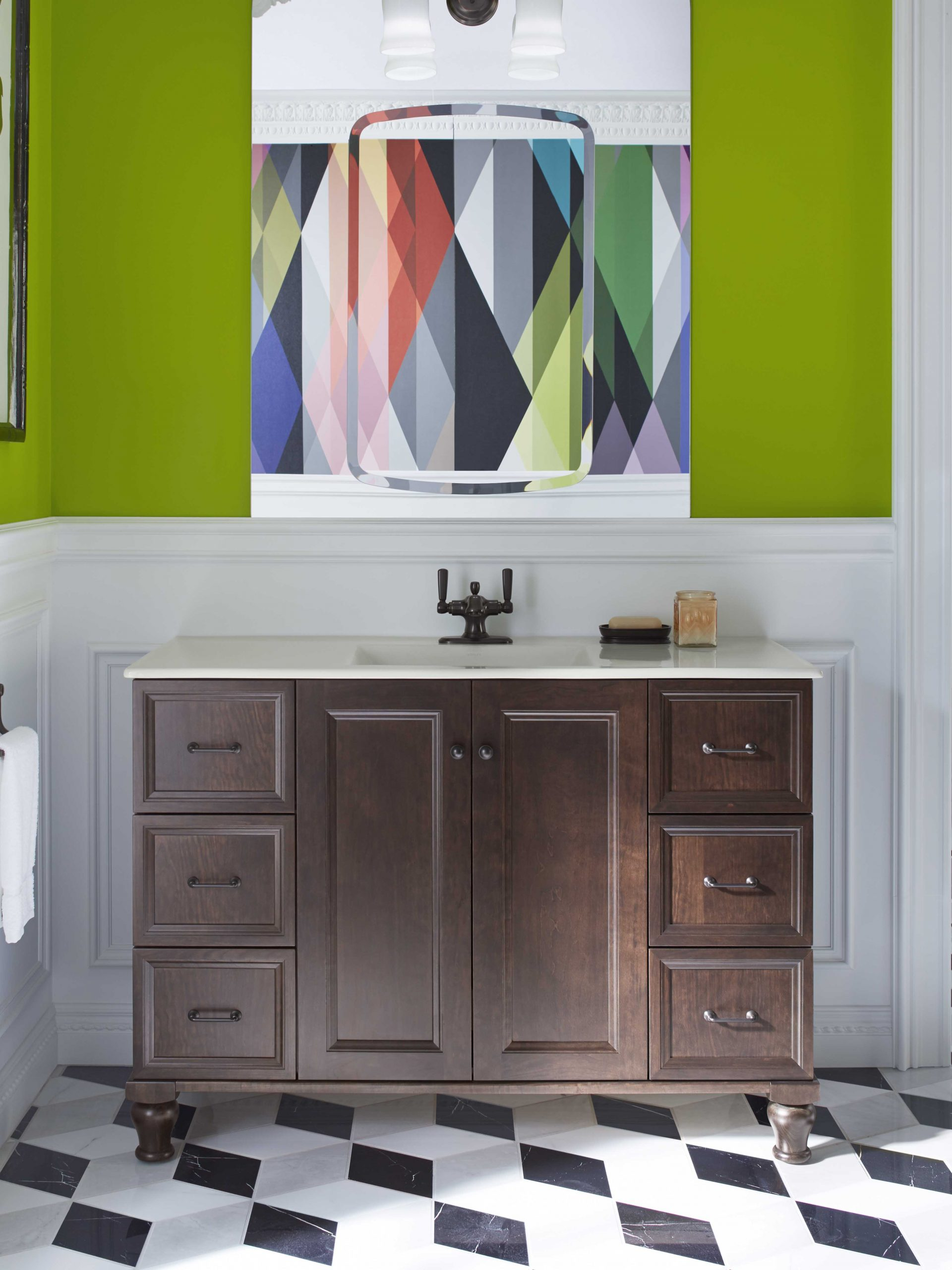 Pop Art style bathroom with olive green walls and black and white diamond floor tiles