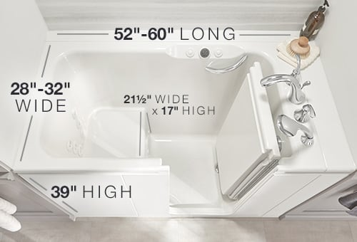 Walk in tub dimensions sizes kohler bathtubs for Walk in shower plans and specs
