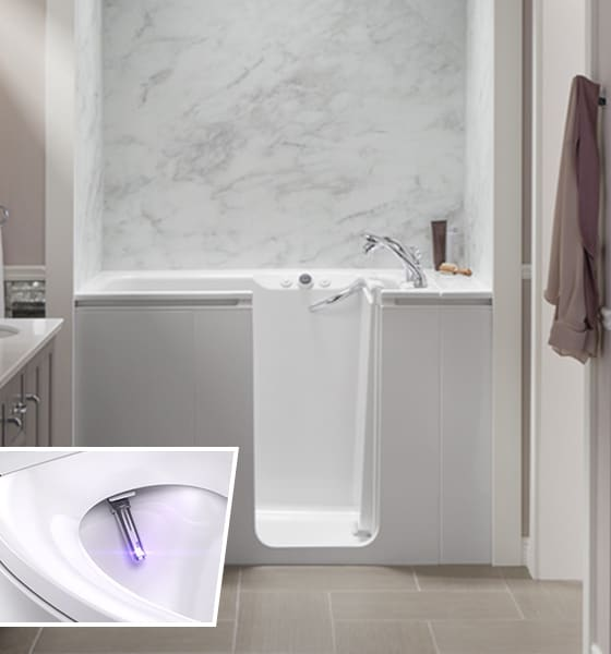 KOHLER Walk-In Bath and Bidet Toilet Seat