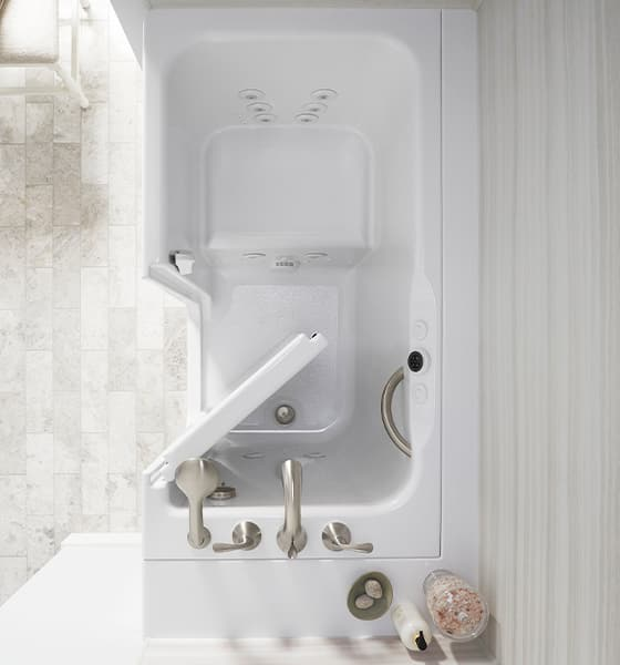 KOHLER Walk-In Bath with wide door overhead