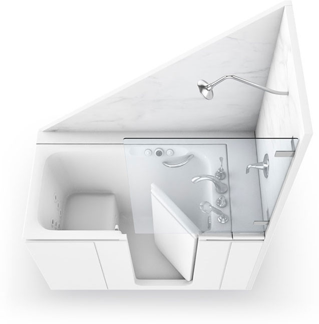 walk-in tub with shower feature